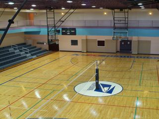 basketball court with volleyball net